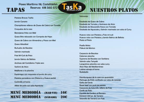 Carta y Menú TasKa restaurante Castelldefels