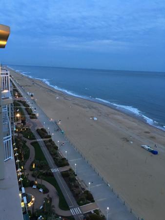 Evening view of Virginia Beach and Boardwalk from the Hilton Garden Inn Virginia Beach Oceanfron