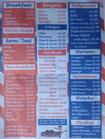 Bolton, UK: Our menu