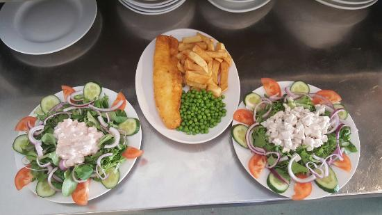 Birchington, UK: Prawn salad chicken salad and fish and chips