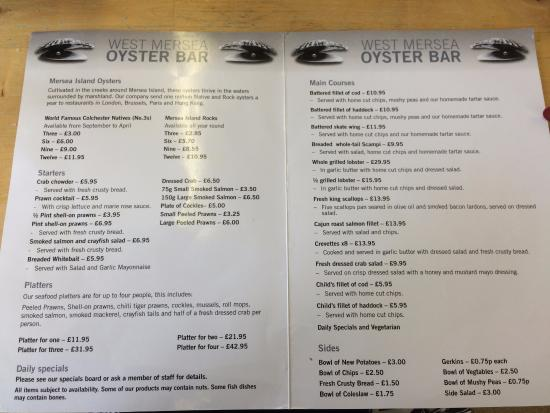 West Mersea Oyster Bar: Menu
