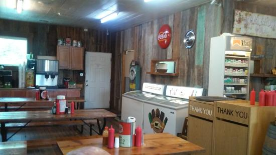 Andice, TX : Quaint charm with ice cream freezer from which to select dessert items.