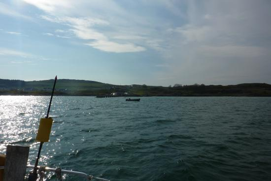 Isle of Gigha, UK: View from the boat, to the new pier. Mooring pontoons to be added, May 2016.