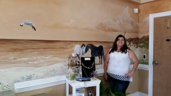 Kingsland Welcome Center: My daughter, Brandy next to wild horse mural