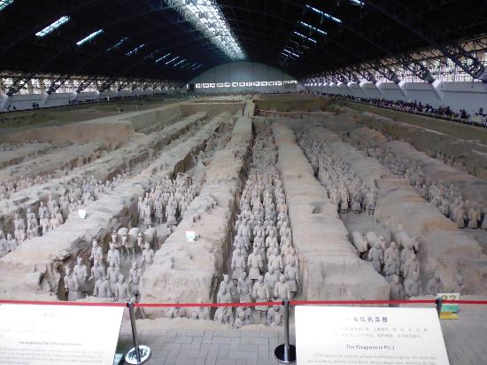 Xian County, China: View of the main excavation site of the Terra Cotta Army.