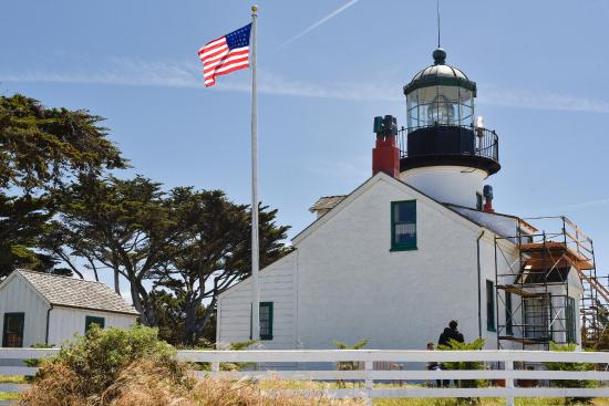 Point Pinos Lighthouse on a clear but windy day.