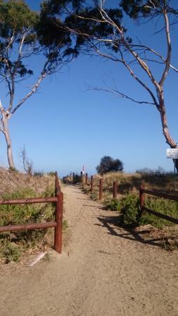 Seven Mile Beach: The entrance to beach from car park near shop