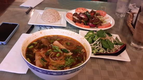 Lac Viet Bistro: Bun Bo Hue with all trimmings and Shaking Beef with Brown Rice