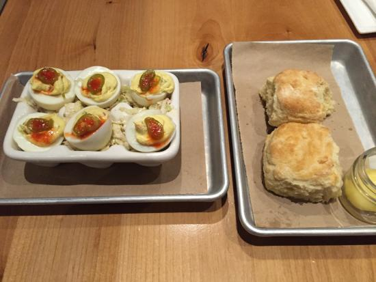 Brea, CA: Deviled eggs and biscuits.