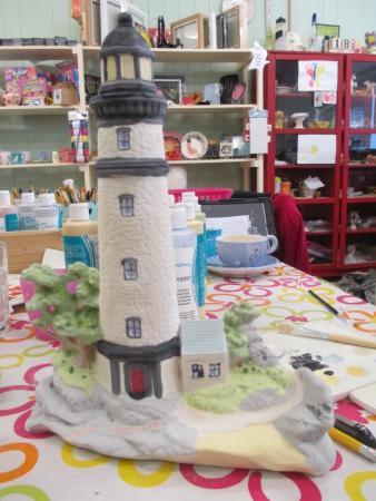 Paint A Pot Place: Lighthouse pot before glazing