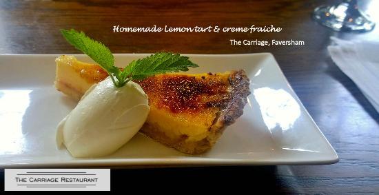 Faversham, UK: Lemon tart with creme fraiche