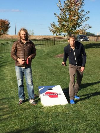 Verona, WI: Playing bags with our sons at Wisconsin Brewing