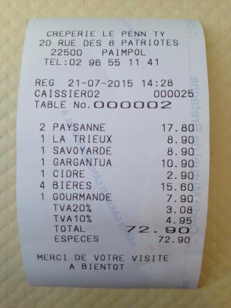 Le Penn Ty : Tiquet comida 5 personas (1 solo postre): menos de 15€/persona