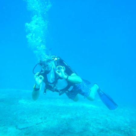 Gili Air, Indonésia: Me on my final PADI Open Water Dive 4