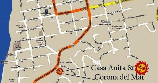 Casa Anita y Corona del Mar: Map of Downtown Puerto Vallarta