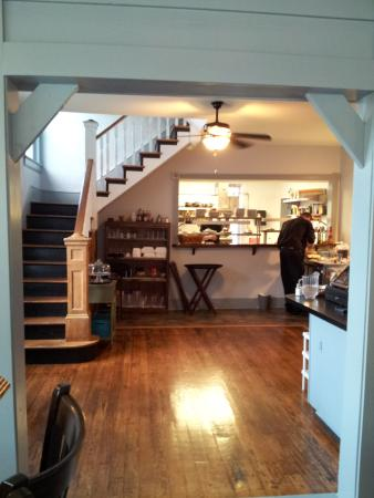 Berkeley Springs, WV: From the bar to the kitchen, with stairs to the BandB rooms.