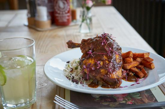 Markinch, UK: Jamaican Jerk Chicken with Rice 'n' peas & sweet potato fries
