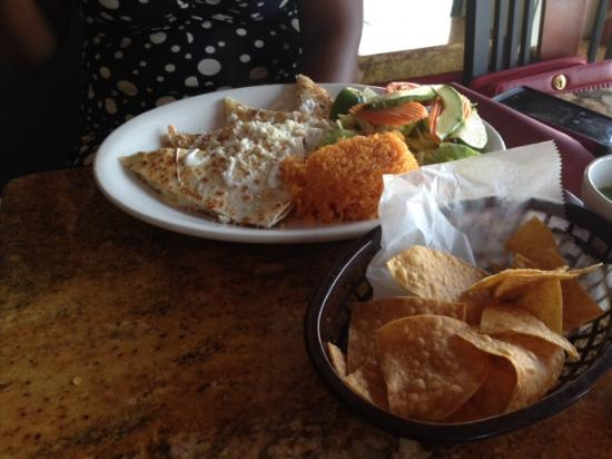 Hammonton, NJ: Quesadillas with rice and salad