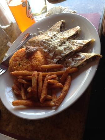 Hammonton, NJ: Steak quesadillas, rice, fries