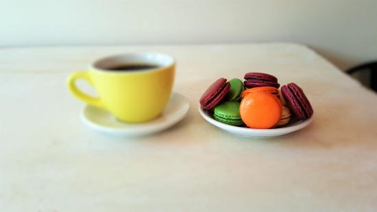 Profile Coffee and Roasters: macarons and coffee