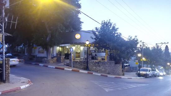 cafe cafe at Biluim street in Gedera, sun set time