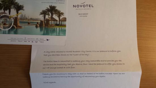 Welcome letter picture of novotel bucarest city centre bucharest novotel bucarest city centre welcome letter spiritdancerdesigns Choice Image