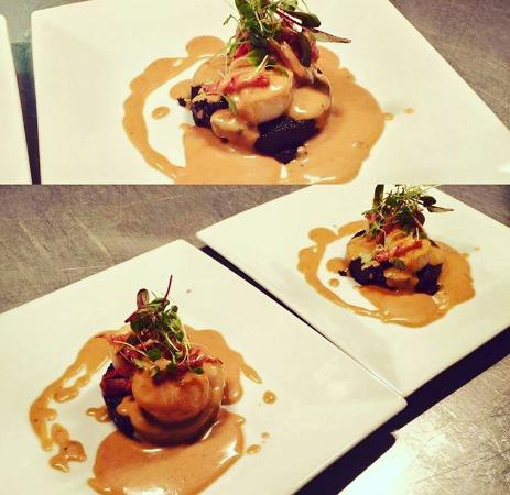 Langholm, UK: Signature Pan Seared West Cost Scallops and Stornaway Black Pudding with Whisky Sauce