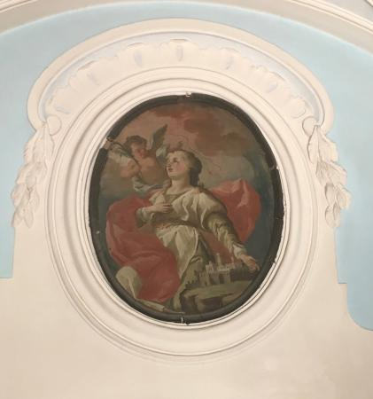 Experience Puglia Day Tour : This painting in the church is on the label of the famous wine called Primitivo.
