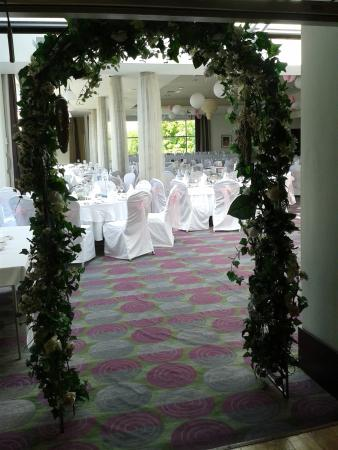 The garland arch at entrance to function room.