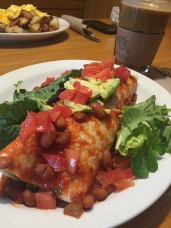 Avogadro's Number: Breakfast burrito with Tempeh -Vegan (sub cheese for avocado)