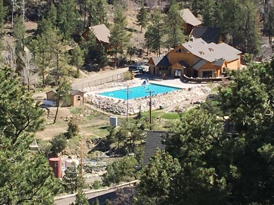 Nathrop, CO: Our room looking down at big hot springs pool