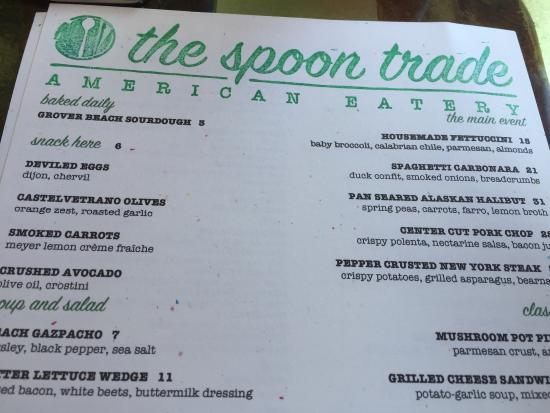 Grover Beach, CA: Tri tip tartare, empty plates and menu