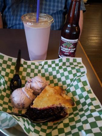 Hungry Horse, MT: Huck pie with huckleberry ice cream and Huckleberry milkshake