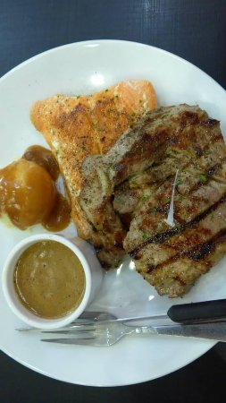 Pork steak and salmon combo
