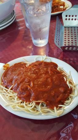 Show Low, AZ: Overcooked Spaghetti with scorched Sauce