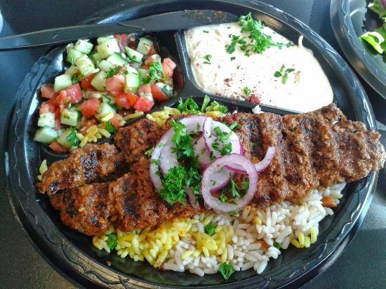 Sahara Lexington Ky >> Lamb Kufta Kebab With Rice Hummas Cucumber Salad And