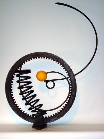 "Ashland, NH: GEAR/SPRINGS/YELLOW BALL     2009    By Bernsen     39""x30""x7""     Metal Assemblage"