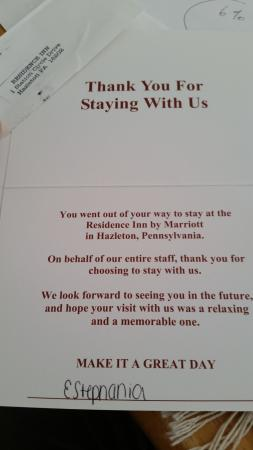 Hazleton, PA: Welcome and Goodbye notes.