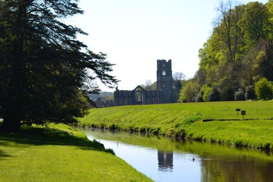 Fountains Abbey and Studley Royal Water Garden: View of the abbey site from the river walk