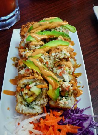 Mariscos El Sushi Mexican Fusion Plates With Chipotle Sauce And Melted Jack