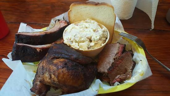 The Joint: Ribs, Chicken, Brisket and Potato Salad.
