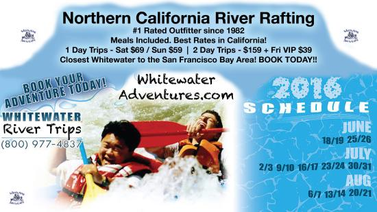 Rumsey, Καλιφόρνια: Summer 2016 Schedule River Rafting Banner for WHITEWATER ADVENTURES Sacramento, California River