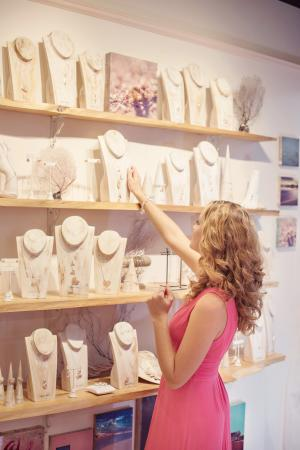 Shopping for pink sand jewels at Alexandra Mosher Studio Jewellery in Hamilton, Bermuda