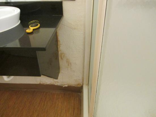 Motel 6 Lumberton : Water damage below sink.