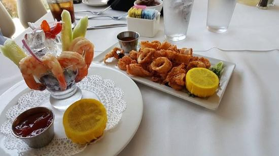 Pomona, CA: Shrimp cocktail and calamai