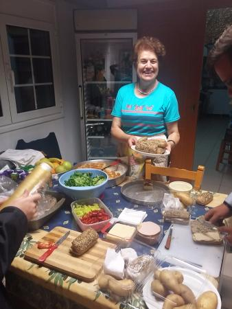 Sarikampos Beach Hotel : Mina makes us sandwiches for our trips