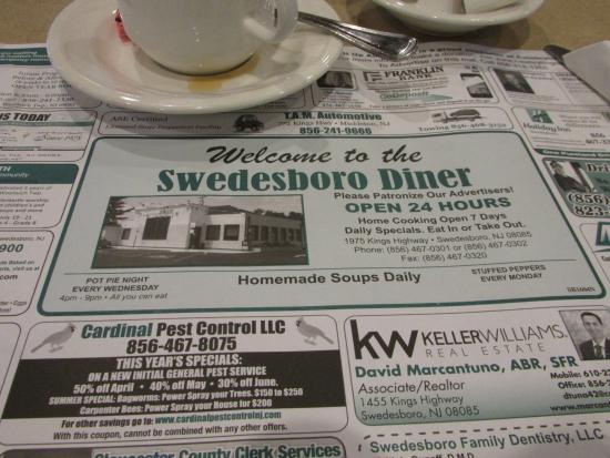 Swedesboro, نيو جيرسي: The placemat tells it all