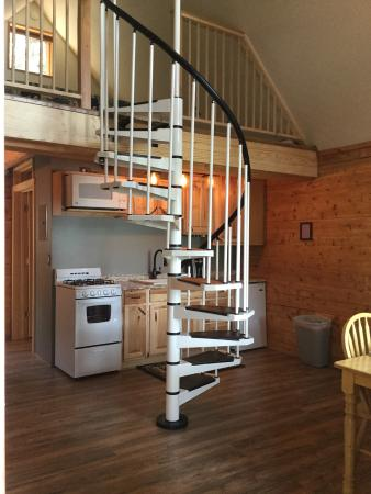 Renfro's Lakeside Retreat: Spiral Staircase Inside Lakeside cabin