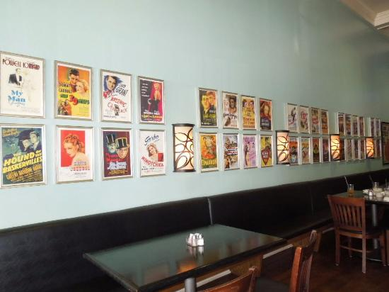 West Point, MS: Miniature movie posters on wall in Cafe Ritz