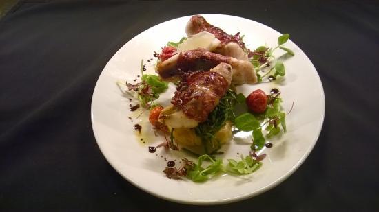 Friary Restaurant: Ardglass monkfish wrapped with chorizo on crushed potatoes and lemon balm. Beautiful!!😊